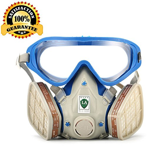 Respirator Gas Mask with Safety Goggles for full face, Safety Mask Reusable Cover Paint Chemical Project Mask with Safety Glasses, Face Respirator Mask Pesticide Dust proof Breathing - For Glasses Face