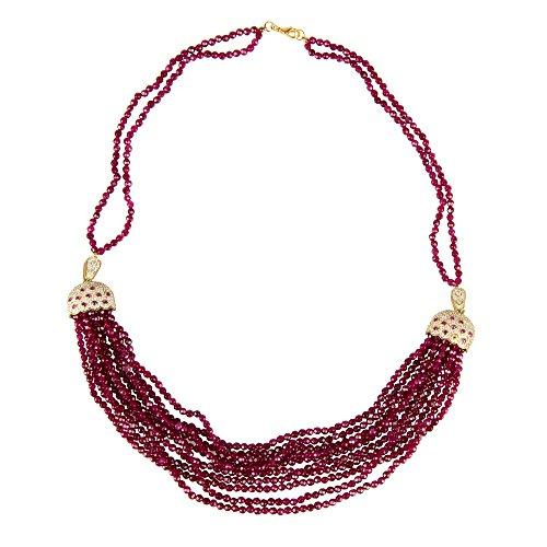 Cascading Tassel Statement Necklace Ruby