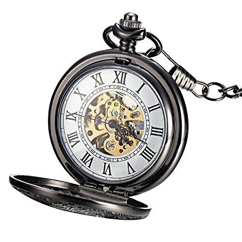 Steampunk Mechanical Style Skeleton Tungsten Steel Windup Mens Pocket Watch Roman Numerals Scale by Retrowind