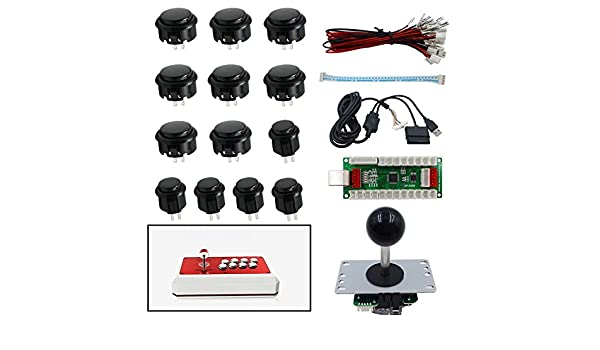 sjjx diy arcade game button and joysticks controller kits for rapsberry pi  and windows xbox ps3 ps2 android tablet mobile phone tv box, 4/8 way  joystick and 11 red push buttons, accessories -  amazon.ca