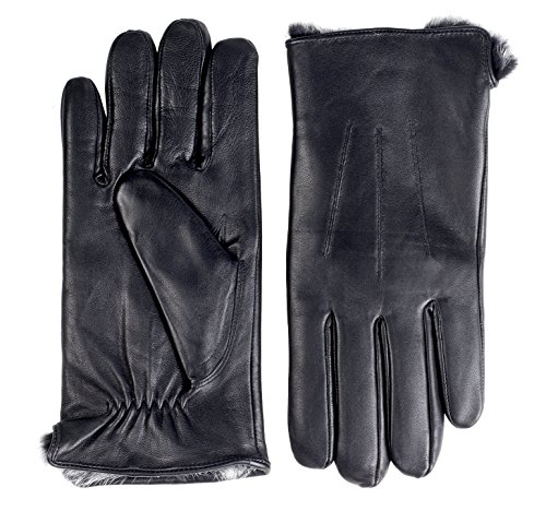 Sportoli Men's Cold Weather Luxury Genuine Sheepskin Leather Gloves with Real Rabbit Fur Lining - Black (X-Large)