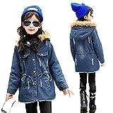 Kids Little Girl Winter Hooded Fur Collar Thick Jean Denim Coat Jacket Outwear (Blue, 8)