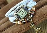 Akezone Leather Quartz Watch Alloy Giraffe and Wooden Beads Bracelet Wrist Watch