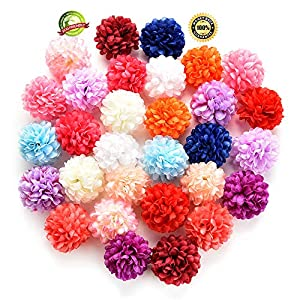 Silk Flowers in Bulk Wholesale Artificial Carnation Flower Head Handmade Home Decoration DIY Event Party Supplies Wreaths 30pcs/lot Approx 4cm (Multicolor) 46