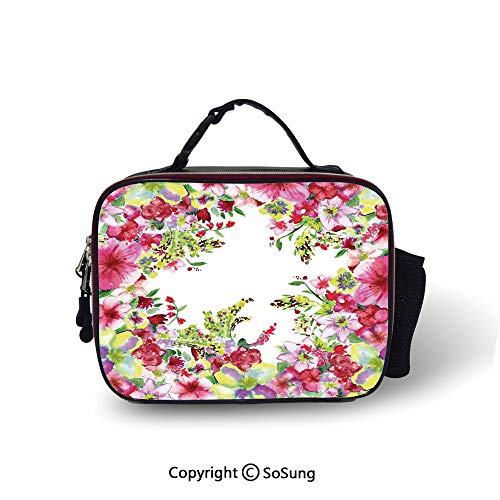(Watercolor Flower House Decor Leakproof Reusable Insulated Cooler Lunch Bag Fresh Curly Willow and Dahlia Floral Summer Buds Pollen Print Picnic Hiking Beach Lunch bag,10.6x8.3x3.5 inch,Pink Green)