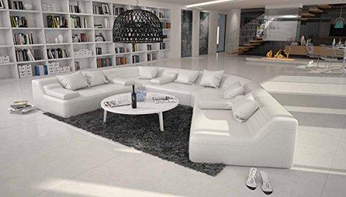 Salesfever Rund Sofa Mit Bezug Aus Weissem Kunstleder 410x272 Cm