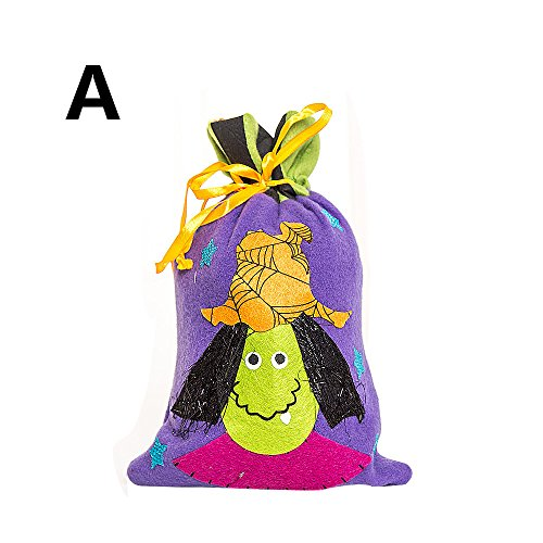 HomeMals Halloween Trick or Treat Bags Kids Candy Bucket Tote Bag Purple]()