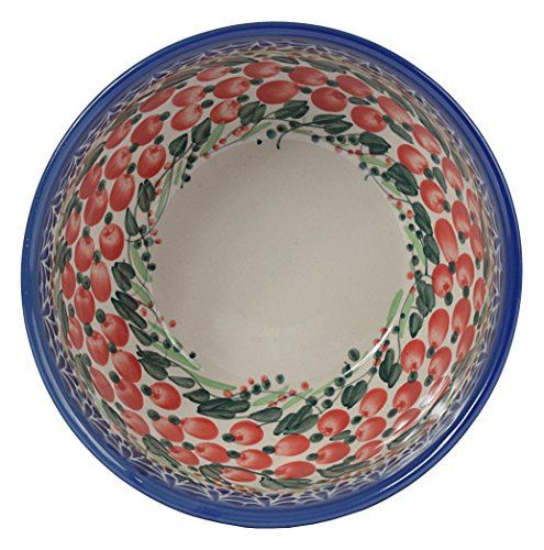 Traditional Polish Pottery Boleslawiec Style Pattern Handcrafted Ceramic Salad Or Cereal Bowl 800 ml d.16cm Arts collection