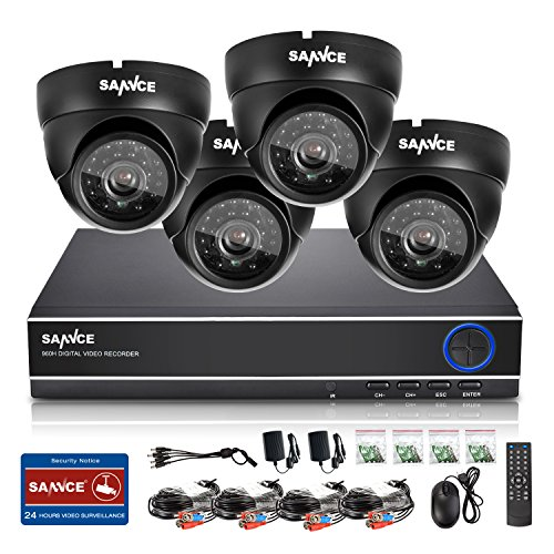 Upgrated-720p-Sannce-4CH-AHD-720P-Security-DVR-4HD-1280720-Super-Night-Vision-Weatherproof-Surveillance-Camera-System-QR-Code-Scan-Easy-Remote-SetupMotion-Detection-No-Hard-Drive