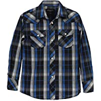 Gioberti Boys Casual Western Plaid Long Sleeve Pearl Snaps Shirt