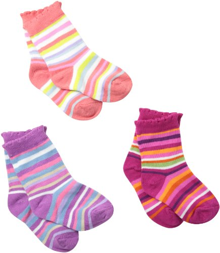 Girl Socks Country - Country Kids Little Girls'  Rainbow Stripe Socks 3 Pair, Coral/Pink/Orchid, Sock Size 6-7, Shoe Size 6-11
