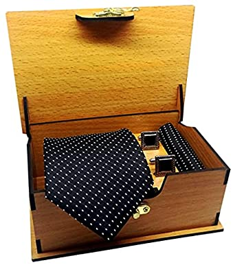 Luxeis Men Premium cotton silk Neck Tie and Pocket Square with Cufflink Combo Gift Set in Premium Wooden Box(Black, Free Size)