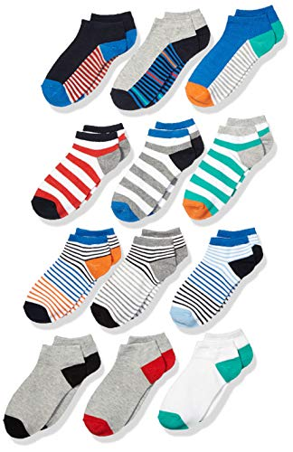 Spotted Zebra Kids' 12-Pack Low Cut Socks, Crazy Stripes, Large (3-6)