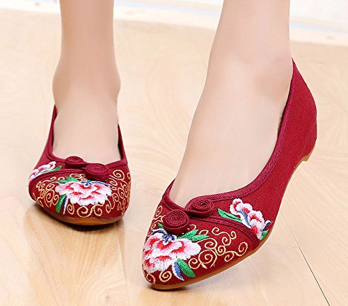 AvaCostume Womens Flower Embroidery Pointed Toe Slip-On Flat Shoes Red uWQKj8dCDF