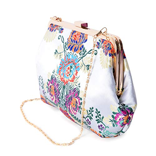 Bag Multi Strap Flower with Colour Embroidered Grey Chain Light Shoulder Clutch 6PYFOO