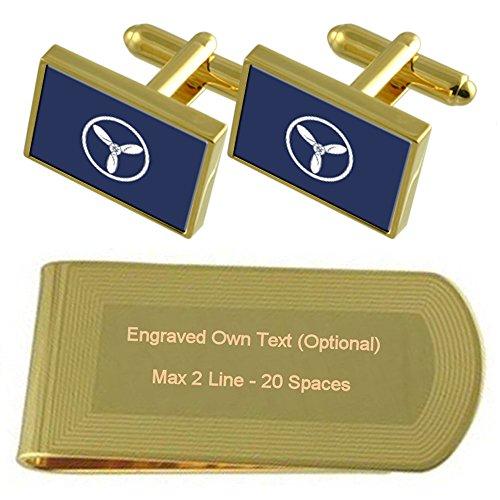 Airforce Senior Gold Rank Engraved Gift Insignia Set Cufflinks tone Aircraft Money RAF Clip Technician 4wFApq4d