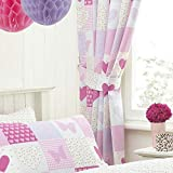 Textile Warehouse Patchwork Pink Butterfly Hearts Girls Kids Childrens Pencil Pleat Lined Curtains