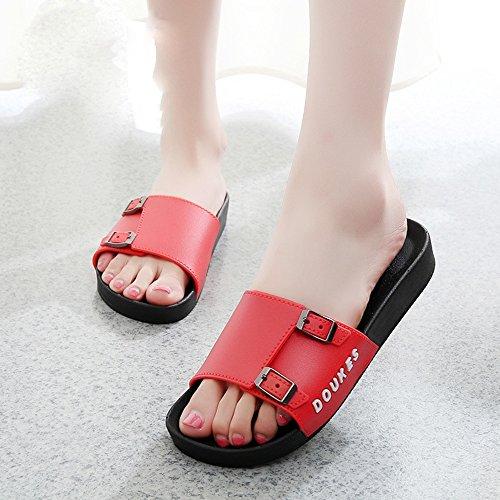 LIXIONG Portátil Zapatillas de mujer Sandalias de mujer Zapatillas de estudiante para verano -Zapatos de moda ( Color : Negro , Tamaño : 41 ) Rojo