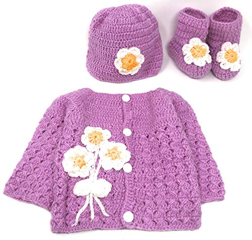 Hand Made 3 Piece Knitted Magnolia Flower Purple Baby Crochet Set- Newborn Toddler Wool Sweater Set Includes- Booties & Hat