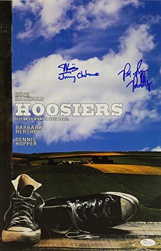 Hackman Gene Signed (Maris Valainis & Brad Long Signed Hoosiers 11x17 Photo JSA Witness #WP323177)
