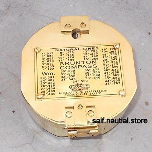 Nautical真鍮Brunton Compassアンティーク真鍮コンパス