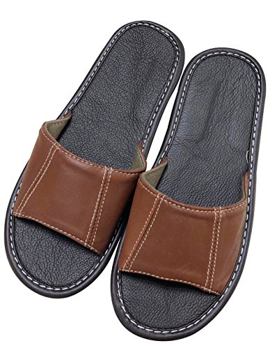 Zoulee Unisex Comfort House Indoor Slip On Leather Slippers Sweat-Absorbent Sheepskin Slippers
