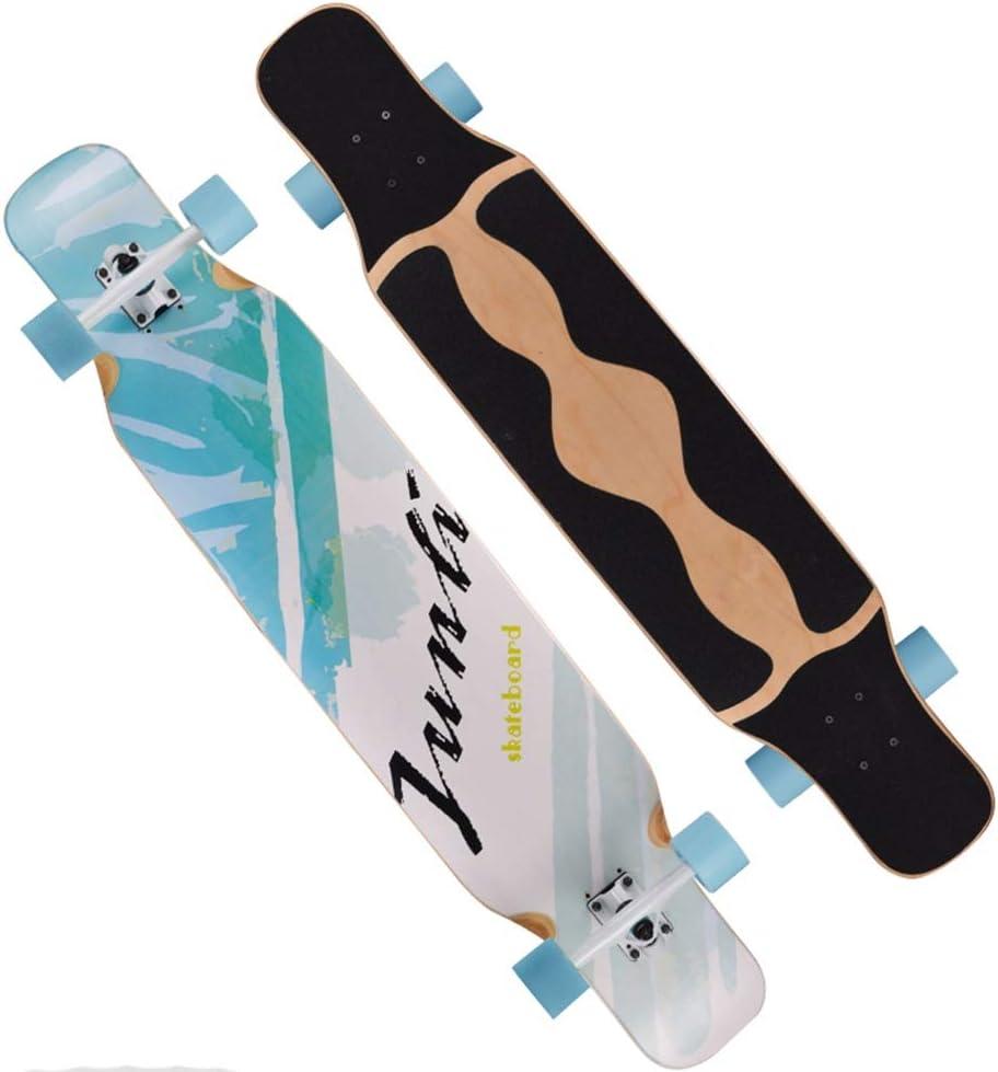 LJHBC スケートボード プロのダンスボード 46.5インチ カエデの8層 ダブルキックボード 大人の10代の若者に適して ガールボーイ 旅行と運動 緑 Lily