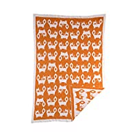 Lolli Living Mod Jacquard Knit Blanket – Fox – Ultra Soft 100% Cotton Knit Re...