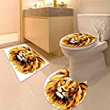 Printsonne 3 Piece Shower Mat Set Decor Illustration of The Lion King Biggest Cat in Africa Icon Animal in Pattern Rug Set