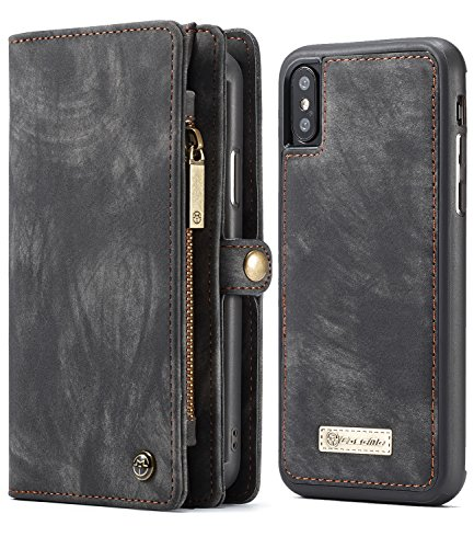iPhone Xs Max Wallet Case, iPhone Xs Max 6.5 Magnetic Detachable Slim Cover, XRPow Vegan Leather Folio Zipper Wallet Removable Shock Protection Cover Card Slots Holder Black