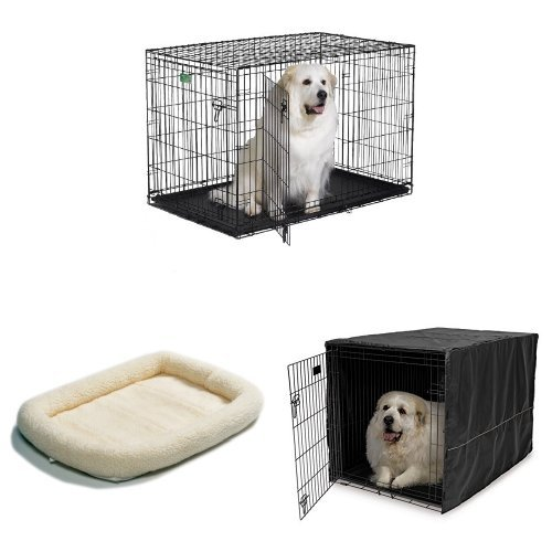 48-Inch Double Door iCrate with Fleece Bed and Cover by MidWest Homes for Pets