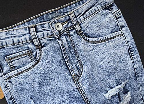 Azul 44 Estiramiento De Chern Mujer Claro Jeans Biran Tamaño Rasgados Agujeros 34 Fit Ajustados Estilo Bastante Slim Alta Con Hellblau Cintura nHBZzW