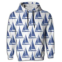Blue And White Sailboats Pattern Mens Novelty Hoodies Sport Outwear