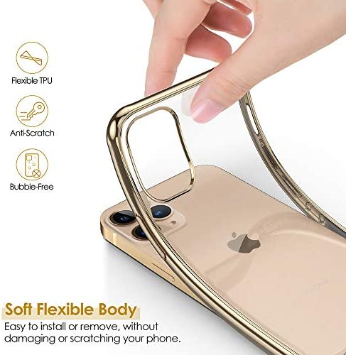 LOHASIC for iPhone 12 Pro Max Clear Case 6.7 inch, Thin Slim Transparent Cover Soft Flexible TPU Shockproof Bumper Luxury Non-Slip Grip Full Body Protective Cases with Metal Luster Edge - Gold