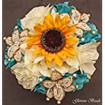 Teal-Turquoiseand-Yellow-Sunflower-Bridal-Bouquets-Wedding-Flower-18-piece-package-with-BEADED-LILIES-and-silk-Roses-Corsages-and-Boutonnieres-Unique-French-beaded-flowers-IvoryCream-and-gold