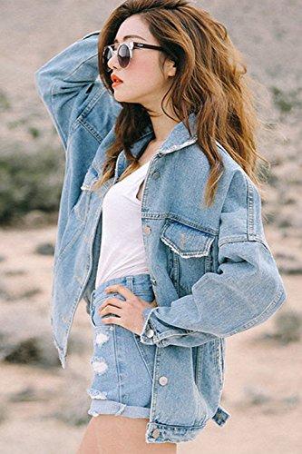 Calido Solapa Invierno Cuello Azul Denim Chaqueta Casual Mujer Outwear Polo Jeans La qwAXOX