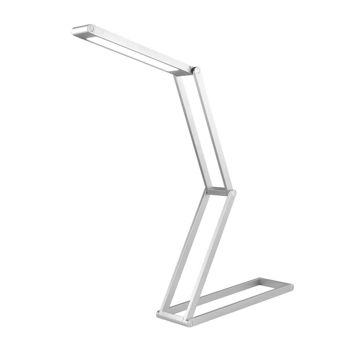 LED Desk Lamp, Toplife Dimmable Eye-Caring Table Lamp, Foldable USB Rechargable Reading Light for Kids&Adults Home Studying Office Working and Camping(Silver)