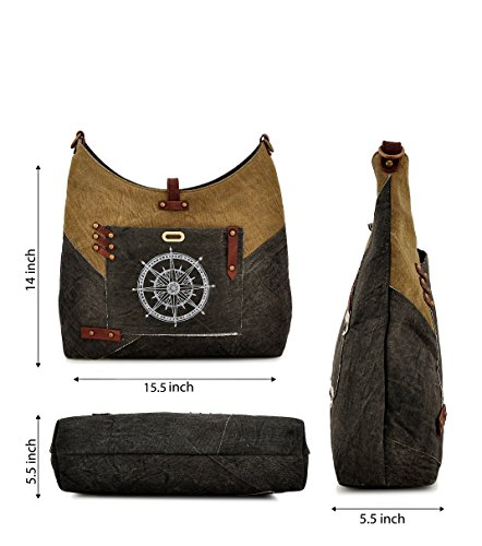 Cross body for Women Leather Canvas Daphne Purse Shoulder Girls Travel bag Backpack Tote Compass by Hobo Work Messenger Shopper Trims PqWW74Sn