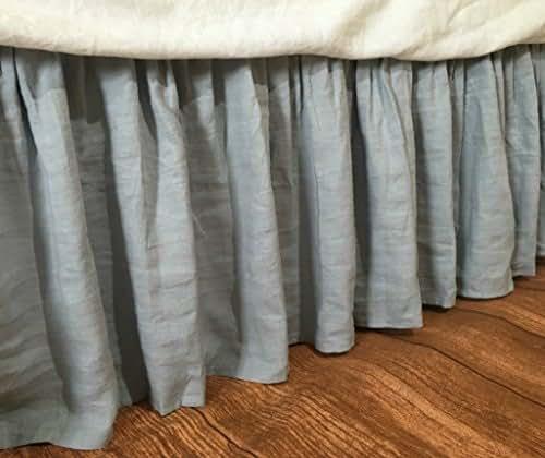 Grey Linen Bed Skirt : Duck egg blue linen bed skirt grey