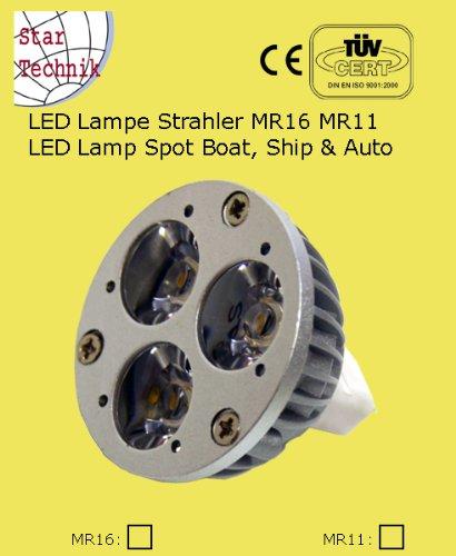 Lampeneinsatz: Reflektoren Lampe mit 3 LEDs: Warmweiss LED Spot 3 Highpower SEMI LED (1W) MR16 12V -ersetzt MR 16 35W / 50 Watt Lampe -TYP B