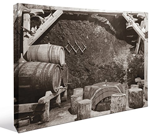 """JP London LCNV2219 Bootlegging Wine Cellar Black and White Bordeaux 2"""" Thick Stretched Canvas Wall Art Mural, 46"""" x 34"""""""