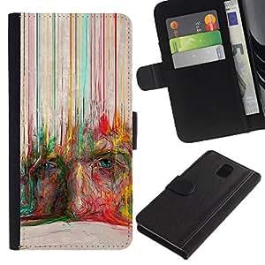 Billetera de Cuero Caso del tirón Titular de la tarjeta Carcasa Funda del zurriago para Samsung Galaxy Note 3 III N9000 N9002 N9005 / Business Style Crayon Art Face Modern Deep Painting