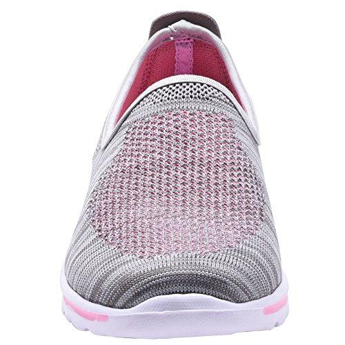 COODO - Zapatillas de running para mujer gris y rosa
