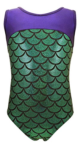 Girls Gymnastics Leotard - Tank with Keyhole (Purple/Green Mermaid, Youth 6-7) (Gk Shorts)