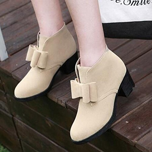 Easemax Mujeres Trendy Frosted Bows Round Toe Mid Chunky Tacón Slip On Botas Beige