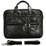 Berchirly Vintage Genuine Leather 15inch Laptop Computer Business Briefcase Expandable Messenger Bag Totes Case