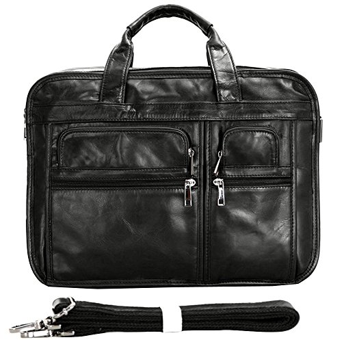 Berchirly Vintage Genuine Leather Laptop Computer Business Briefcase Expandable Messenger Bag Totes Case