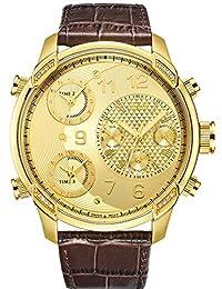 JBW J6248LR G4 Swiss-Quartz Multi Time Zone 16 Diamond Leather Men's Wrist Watch, Gold