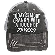 Today's Mood Cranky with A Touch of Psycho Women's Trucker Hats & Caps Black/Grey