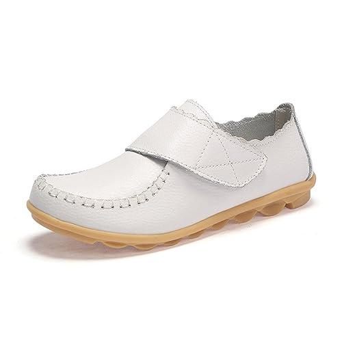 Mocasines Mujer Velcro Flats Loafers Zapatos de Conducción Naranja Negro Blanco Rojo 35-41: Amazon.es: Zapatos y complementos